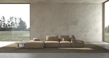minimalismo interior moderno design escandinavo estúdio luminoso sala de estar com simulação de parede de estuque e natureza panorâmica vista da floresta ilustração renderização 3d foto