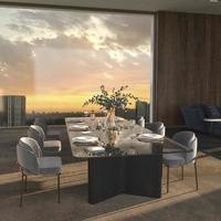sala de jantar luxuosa com luz do sol e panorama de fundo da cidade e grande janela com vista para o céu noturno. foto