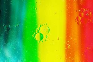 uma macro bonita e colorida de bolhas de óleo na água com uma textura de listra amarela, vermelha, verde, laranja e azul como padrão de fundo foto