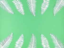 folhas de papel tropical sobre fundo verde, plana leiga com espaço de cópia. foto