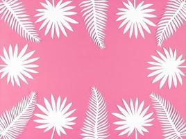 folhas de papel tropical em fundo rosa, plana leiga com espaço de cópia. foto