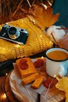 composição de férias de outono para cartões postais, convites e cartazes. foto