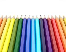 Renderização 3D de lápis de cor em fundo branco foto