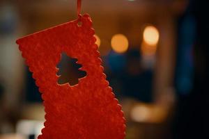 meia vermelha de Natal. foto