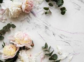 peônias rosa em um fundo de mármore foto