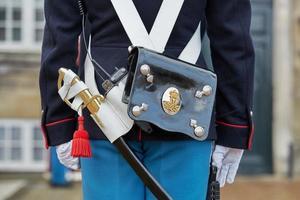 guardas reais no castelo de amalienborg, copenhagen, dinamarca foto