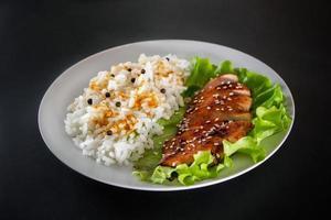 comida caseira - frango teriyaki com arroz branco e pimenta em um fundo preto. foto