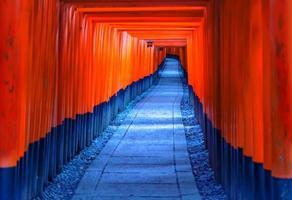Red Torii Gates in Fushimi Inari Shrine in Kyoto Japan foto