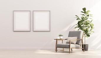 Renderização 3D de simulação de design de interiores para sala de estar com moldura na parede branca foto
