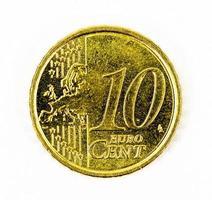 Parte da frente da moeda de 10 centavos de euro foto