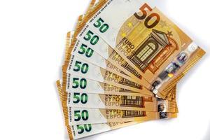 as notas de 50 euros em forma de leque foto