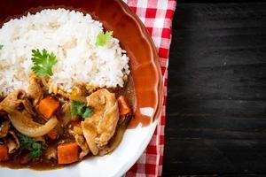 arroz curry japonês com carne de porco fatiada, cenoura e cebola foto