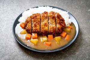 Costeleta de porco frita crocante com curry e arroz foto