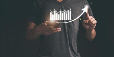 planejamento e estratégia de crescimento de negócios holograma virtual investe em ilustração comercial foto