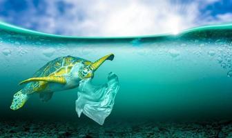 poluição de plástico em problemas ambientais marinhos os animais no mar não podem viver. e causar poluição de plástico no conceito ambiental do oceano foto
