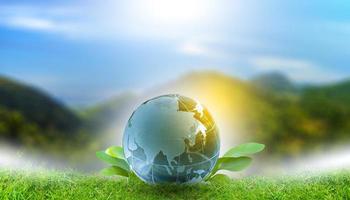 conceito de energia renovável dia da terra ou mãos de proteção do meio ambiente protegem as florestas que crescem no solo e ajudam a salvar o mundo. foto