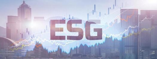 ESG ambiental governança social estratégia empresarial investindo conceito no fundo da cidade moderna foto