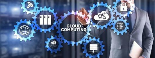 infraestrutura de software de armazenamento de dados de computação em nuvem. mídia mista foto