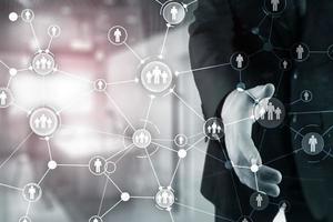 rede equipe grupo pessoas conectadas. papel de parede de negócios corporativos. estaca foto