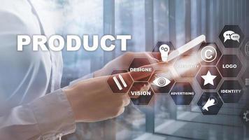 conceito de design de promoção de produto comercial. fundo de dupla exposição. foto