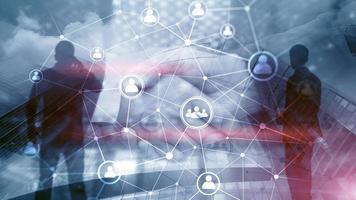 estrutura de rede de pessoas de dupla exposição hr - conceito de gestão e recrutamento de recursos humanos foto