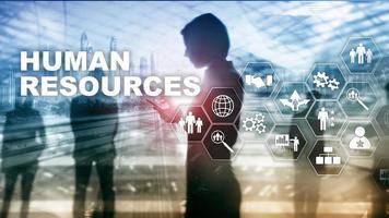 conceito de gestão de RH de recursos humanos. pool de recursos humanos, atendimento ao cliente e funcionários. foto
