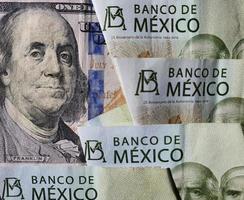 taxa de câmbio do peso mexicano e dólar americano foto