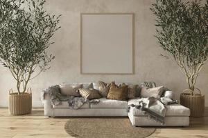 Interior da sala de estar em estilo de casa de fazenda escandinava bege com móveis de madeira natural ilustração 3D render foto