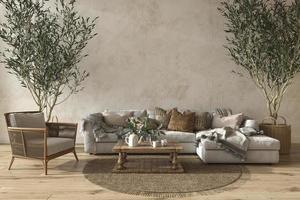 Interior da sala de estar bege com estilo de casa de fazenda escandinava com simulação de parede de fundo. Ilustração 3D render foto