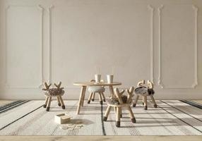 quarto infantil em estilo escandinavo com móveis de madeira natural. simulado no fundo da parede. ilustração de renderização 3d de estilo de casa de fazenda de crianças. foto