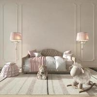 quarto de crianças estilo clássico interior. quarto de crianças rosa para menina. simulado no fundo da parede. Ilustração de renderização 3D. foto