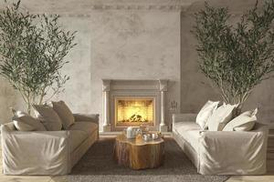 Interior da sala de estar em estilo de casa de fazenda escandinava com móveis de madeira natural e lareira ilustração 3D render foto
