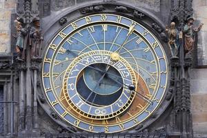 relógio astronômico na parede da antiga prefeitura de Praga, República Tcheca foto