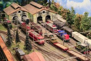 estação de trem em miniatura foto