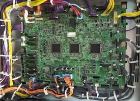 placa-mãe eletrônica e processador de uma impressora digital foto