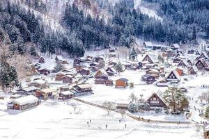 vista aérea do gifu da vila de Shirakawa no Japão foto