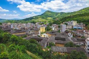 vista aérea do pentágono tulou em fujian, china foto