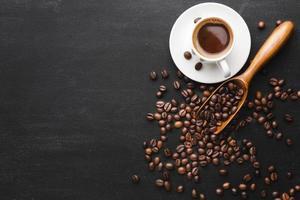 vista superior do café com mesa de feijão. conceito de foto bonita de alta qualidade