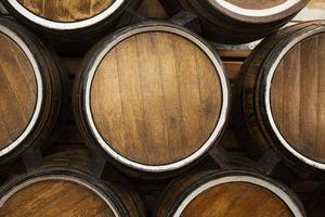 vista superior barris de madeira. conceito de foto bonita de alta qualidade