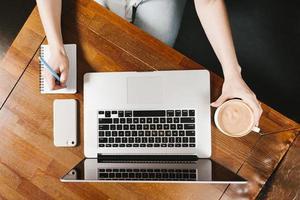 espaço de trabalho topview com café para laptop. conceito de foto bonita de alta qualidade