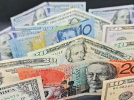 valor na taxa de câmbio entre o dinheiro australiano e o americano foto