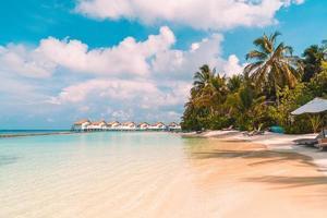 cadeiras de praia com ilha tropical resort das Maldivas e fundo do mar foto