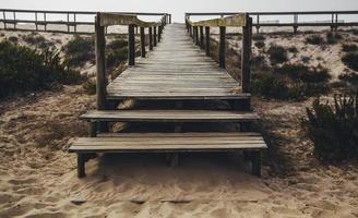 passarela de madeira na praia foto