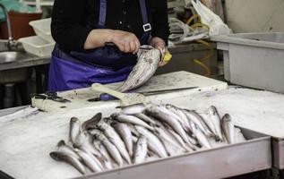 limpando peixe em um mercado foto
