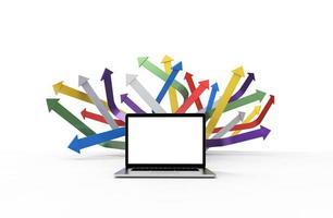 laptop moderno isolado no fundo branco com gráfico de setas. Ilustração 3D. foto