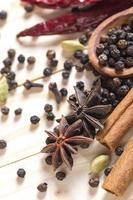 especiarias e ervas. alimentos e ingredientes da cozinha. paus de canela, estrelas de anis, pimenta preta, pimenta, cardamomo e cravo em um fundo de madeira foto
