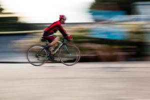 andar de bicicleta panorâmica de movimento foto