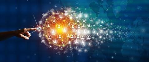 mapa do mundo e conceito de fundo de conexão de pessoas, fonte original da nasa foto