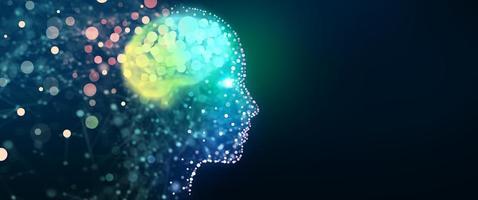 cabeça humana com uma rede cerebral luminosa, conceito de fundo de tecnologia foto