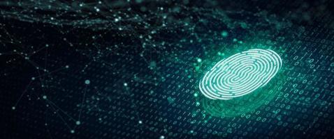 digitalização de impressão digital fornece acesso de segurança com código binário em fundo azul profundo foto
